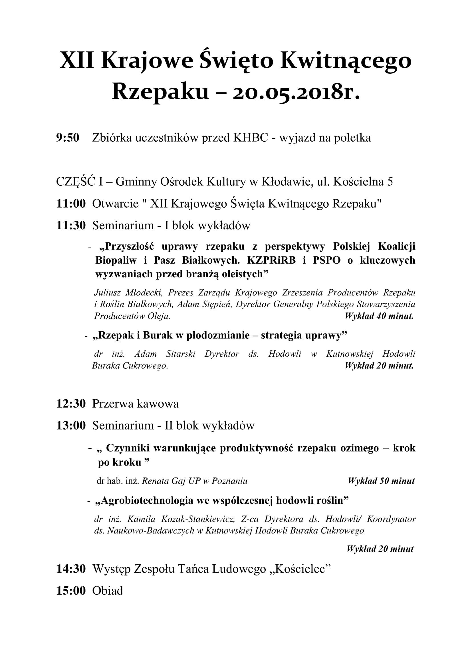 Program na XII Krajowe Święto Kwitnącego Rzepaku SEMINARIUM-1